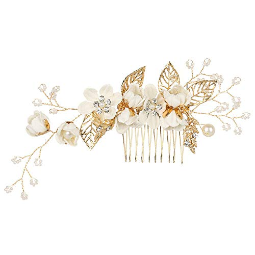- Bridesmaid Hair Jewelry Hair Combs Leaves Tiara Flower Hair Pin Bridal Clips (Color - white)