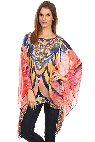 (Modern Kiwi Sunrise Journey Printed Long Sleeve Chiffon Caftan Tunic Top Pink One)