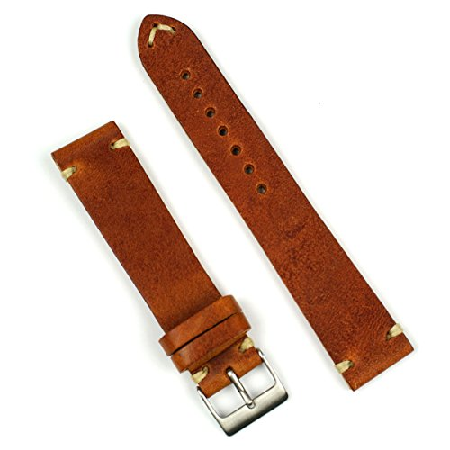 Medium Leather Watch Strap - B & R Bands 20mm Cognac Classic Vintage Italian Leather Watch Band Strap - Medium Length