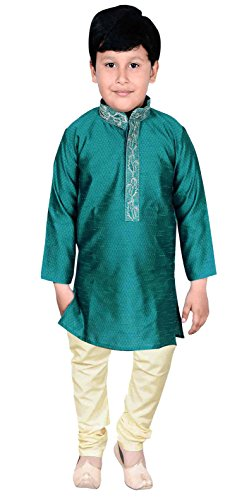 Boys Sherwani Kurta Pajama Asian Wedding Party Wear 915 (0 (6 months to 1 yrs), Teal) by Desi Sarees