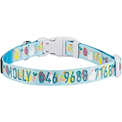 Blueberry Pet 2 Patterns Personalized Dog Collar, Easter Bunny and Egg Print, Small, Adjustable Customized ID Collars for Small Dogs Embroidered with Pet Name & Phone Number