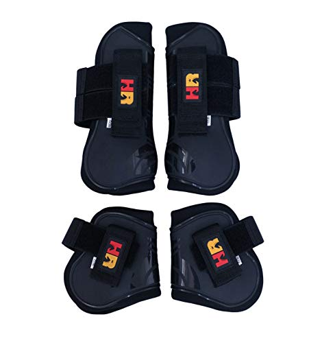 - HR Farm Equine Horse Protect Tendon and Fetlock Boots Set 4pcs Pack (Black, Pony)