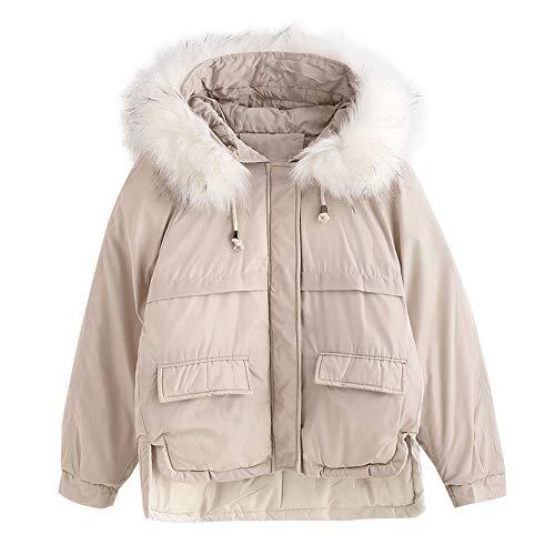 Parka Zaful Trapuntate Outwear Jacket Beige Winter Fur Ladies Hood Tasche Coat Puffer Hf4qTxAwH