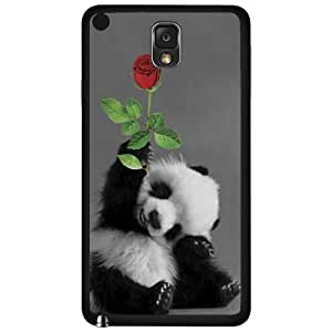 Adorable Smiling Baby Panda with Rose Hard Snap on Phone Case (Note 3 III)