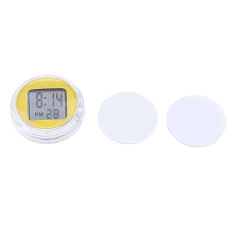 MagiDeal Reloj Digital Hora Minutos Segundos Pantalla LED Impermeable Motocicleta - Amarillo