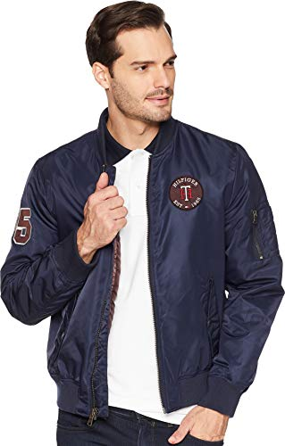 Flight Retro (Tommy Hilfiger Men's Retro Varsity Letterman's Bomber Jacket, navy, Large)