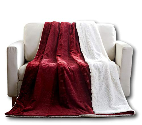- Tache Merlot Red Bed Blanket - Embossed Super Soft Warm Sherpa Fleece Throw Blanket - Twin Size - 63 x 87 Inch