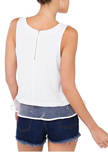 Smile YKK Débardeur Femme Court Tulle T-shirt Sans Manche Col Rond Tops Court Eté