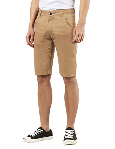 Slim J Men's Solid Slim Straight Midi Knee High Shorts w/ Pockets KHAKI 29