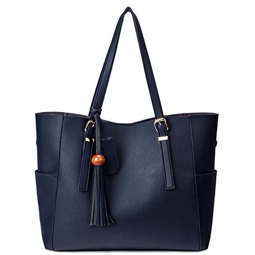 Tote Handbag Blue Leather Hot Women's Dark Shoulder Soft Obosoyo Synthetic Bags qHIawwT