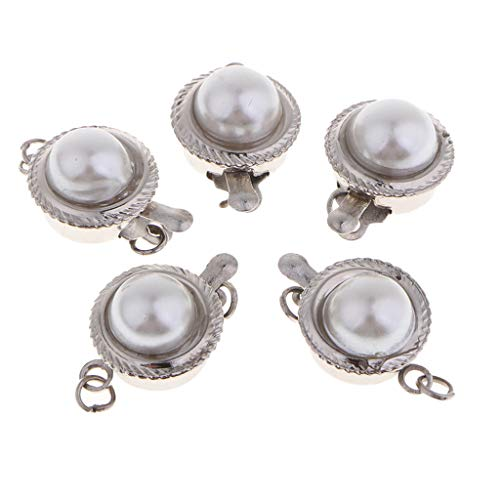 LoveinDIY Fashion Silver Pearl Bead Buckle Single Row Box Clasp for Jewelry Making Bracelets Necklace End Clasp, 5 Pack, 16x11mm/0.6x0.4inch