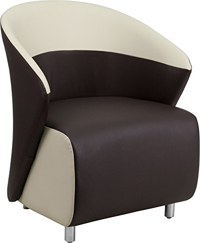 Flash Furniture Dark Brown Leather Lounge Chair with Beige Detailing by Flash Furniture
