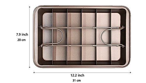 Non Stick Brownie Pans with Dividers, Diveded Brownie Pan All Edges, 8 inch by 12 inch by SUJUDE (Image #4)