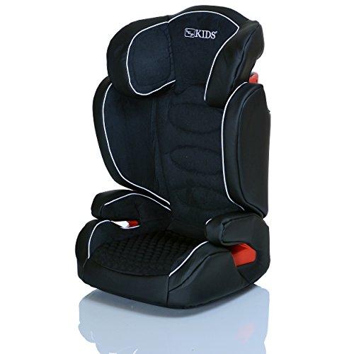 LCP Kids Kinderautositz Neptun JetBlack 15 bis 36 kg Gruppe 2 und 3 - wächst mit dem Kind da Kopfstütze und Seitenschutz verstellbar - schwarz