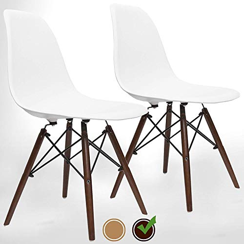 UrbanMod Mid Century Modern Style Chairs The 'Easy Assemble DSW Ergoflex Abs Plastic and 'One Wipe Wonder' Cleaning Comfortable Dining Meets 5-Star, Set of 2 (Walnut)
