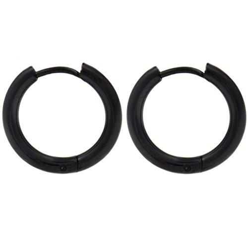 Pair of Black IP Steel Hinge Hoop Earrings 10-20mm (10mm Diameter) Continous Hinges