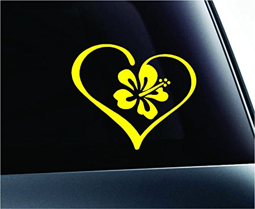 Heart with Hibiscus Flower Love Hawaii Shaka Aloha Symbol Decal Family Love Car Truck Sticker Window (Yellow)