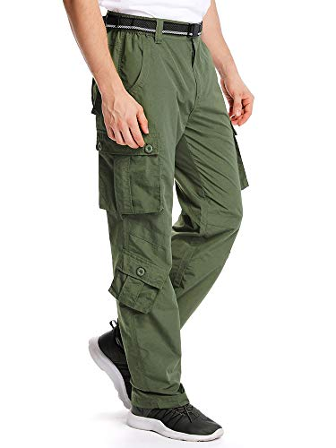 Jessie Kidden Men's Outdoor Casual Quick Dry Lightweight Breathable Hiking Fishing Cargo Pants with 8 Pockets #6052, Army Green, 38