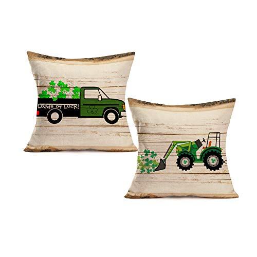 Royalours Set of 2 Cotton Linen St Patricks Day Pillow Covers Loads of Luck Truck Green Clover Farmhouse Happy St Patricks Day Decor Retro Wood Grain Decorative Cushion Case 18