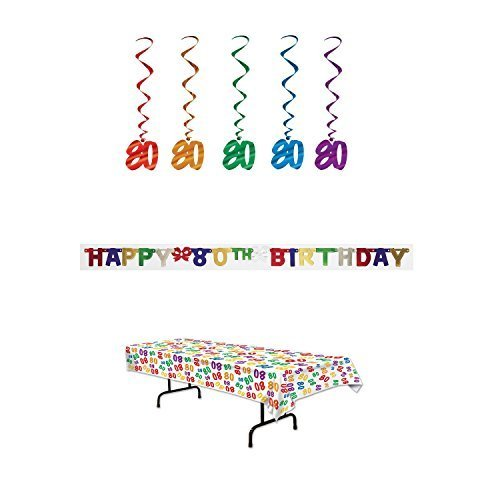 80th Birthday Party Decoration Kit: Bundle Includes Banner, Table Cover, and Whirls ()