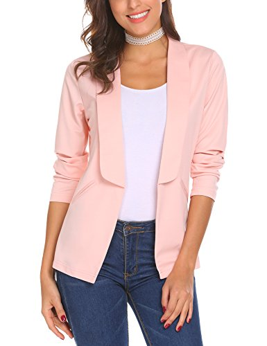 EASTHER Womens Casual Work Office Long Sleeve Open Front Jacket Blazer, Pink, X-Large (Sleeve Jacket Rolled)