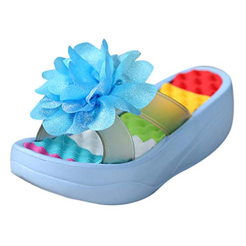 TIFENNY Summer Fashion Sandals Non-Slip Platform Flip Flops Slippers Sandals Swing Wedge Women's Hole Shoes Gift Sky Blue