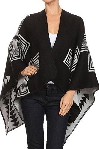 ReneeC. Women's Open Front Wearover Wraps Warm Winter Sweater Cardigan Poncho (One Size, Black & Grey 2) - Luv Wrap
