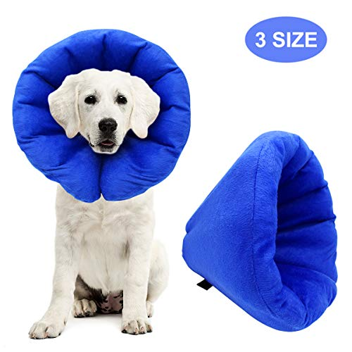 AK KYC Pet Inflatable Collar for Dogs Cone After Surgery Adjustable Puppy Recovery Protective Collar for Small Medium Dogs, 8.6