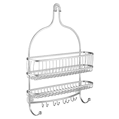 InterDesign York Lyra Extra Wide Bathroom Shower Caddy for Shampoo, Conditioner, Soap - Silver