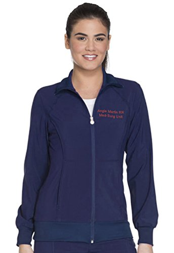 Embroidered Cherokee Women's Infinity Zip Front Warm-up Jacket (Style 2391A, Navy, M)