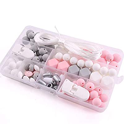 HAO JIE Silicone Teether Beads DIY Kit Set Baby Pacifier Clips Chewable Bead Baby Teether Toys BPA Free Nursing Teething: Toys & Games