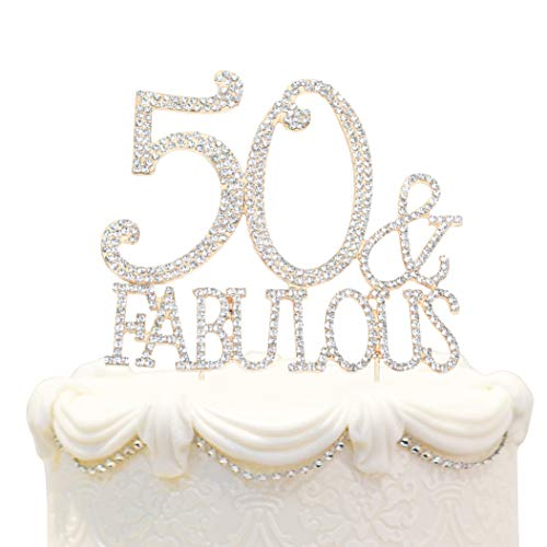 Hatcher lee Bling Crystal Fabulous and 50 Birthday Cake Topper - Best Keepsake | 50th Party Decorations Gold