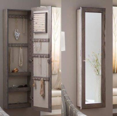 Jewelry Armoire - Driftwood Wood with Mirror Lockable Wall Mounted - Cozy Home of Your Jewels