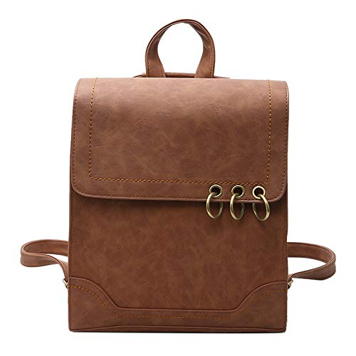 Backpack Ring New Personality Bag Retro Woman Iron Wind Leisure Shoulder College Brown vqCfw