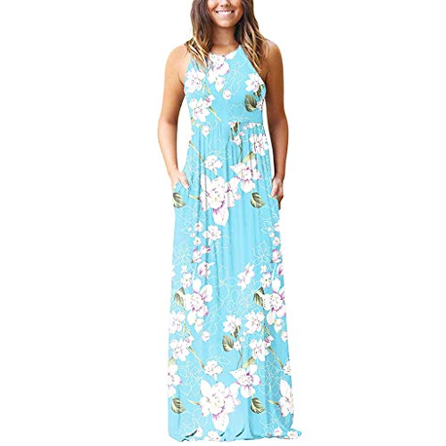 - Elegant Maxi Dress for Women,Chaofanjiancai Ladies Sleeveless Flower Printed Bohemia Long Dress with Pocket Sundress Blue