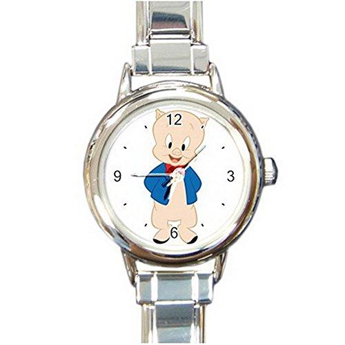 Porky Pig Cartoon Custom Design Round Italian Charm Watch Limited Edition#2