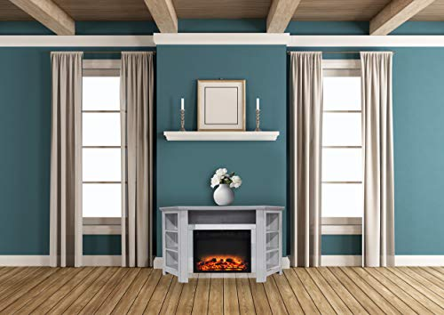 Cheap Cambridge CAM5630-1WHTLG2 Stratford 56 In. Electric Corner Fireplace in White with Enhanced Fireplace Display Black Friday & Cyber Monday 2019