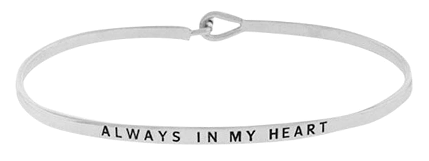 """ALWAYS IN MY HEART"" Sentimental Quote Thin Brass Bangle Hook Mantra Bracelet"