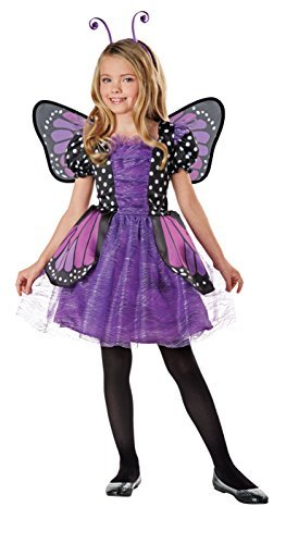 SEASONS DIRECT Halloween Costumes Girl's Brilliant Butterfly Purple Costume with Wings, Dress, Headband (4-6 US)