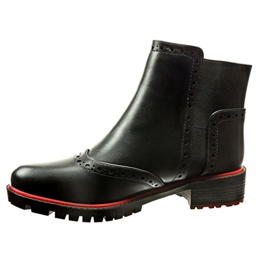 Boots Scarpe Scarponcini Perforato Nero Moda Blocco cm da Derby Chelsea 5 Stivaletti Scarpa Donna Tacco Angkorly a 3 8FwAfRpq8