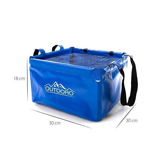 41PQdbSoeQL Outdoro Faltschüssel Groß - 16/22 Liter - Inklusive Zusatz-Tasche - Langlebiges Planen-Gewebe - Faltbare Waschschüssel…