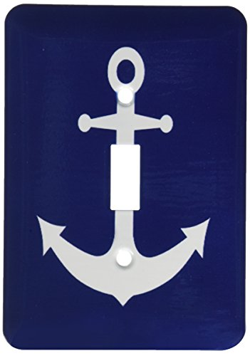 3dRose lsp_165798_1 Navy Blue and White Nautical Anchor Design Light Switch - Rose Light Switch Covers