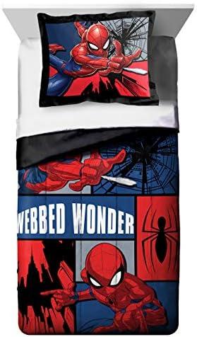 Jay Franco Marvel Spiderman Webbed Wonder Twin Comforter Sham Set – Super Soft Kids Bedding – Fade Resistant Polyester Microfiber Fill Official Marvel Product