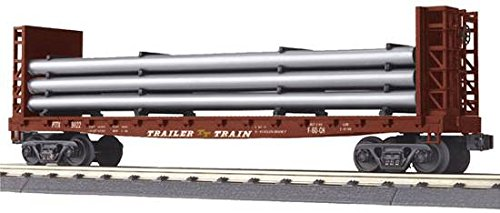 MTH RAILKING O TTX FLAT W/BLKHDS & PIPE LOAD