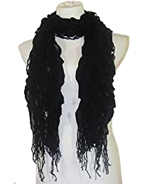 Womens Knit Ruffle Scarf with Fringe