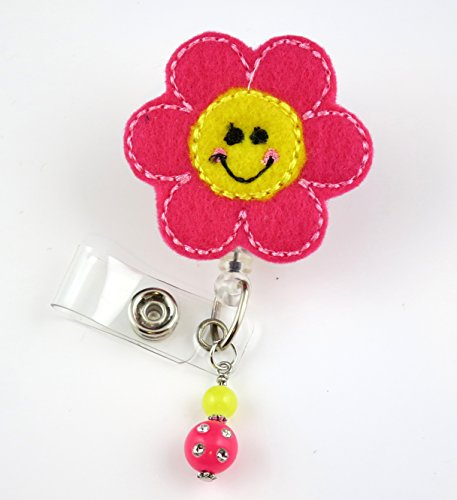 Smiley Flower- Nurse Badge Reel - Retractable ID Badge Holder - Nurse Badge - Badge Clip - Badge Reels - Pediatric - RN - Name Badge Holder
