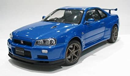 Nice Nissan Skyline GTR R34 V Spec II Blue 1/24 Scale Diecast Model