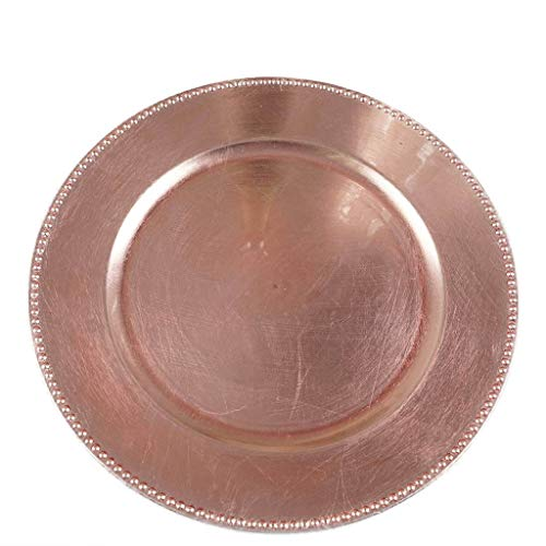 Tiger Chef 13-inch Rose Gold Round Beaded Charger Plates, Set of 24, 48 or 96 Dinner Chargers (24-Pack)