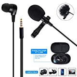 2-in-1 Lavalier Lapel Microphone with Earphone Professional Clip-on Omnidirectional Mic with Earmuffs Headphone Perfect for Recording YouTube/Podcast/Video & Voice Chat