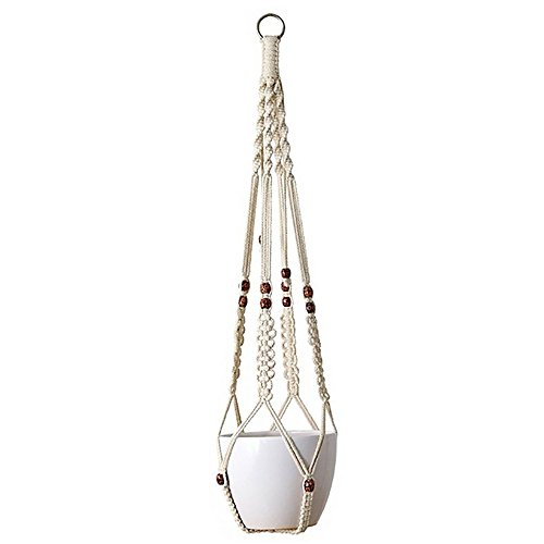 Pot Hangers Plant (Littlegrass Design Macrame Plant Hangers with Beads Indoor Outdoor Hanging Planter Pot Holder Cotton Rope Decorative Flower Pot Holder Home Boho Decor for Succulents, Cacti, Herbs, up to 10